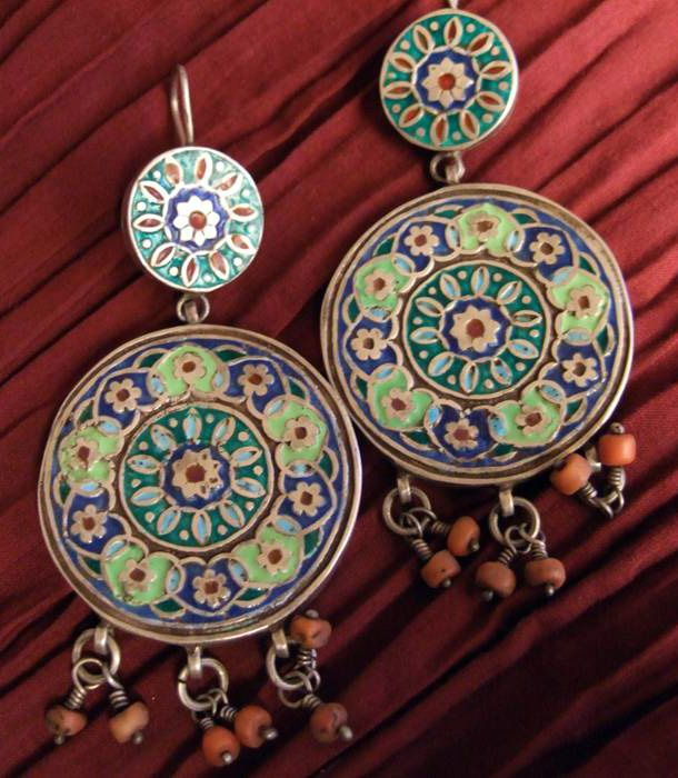 Pakistan | Earrings; silver, enamel and coral | Sold