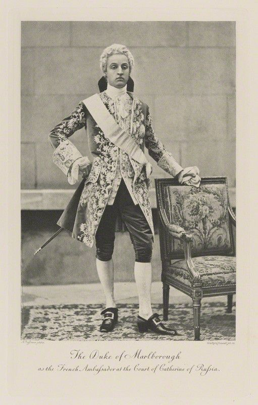 Charles Richard John Spencer-Churchill, 9th Duke of Marlborough | Dressed for a costume ball as the French Ambassador to the court of Catherine the Great (c. 1897, published 1899). There is an accompanying photograph of his wife Consuelo costumed as the French Ambassador's wife.