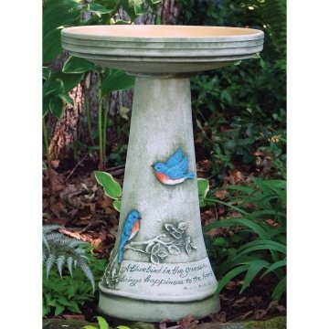 Burley Clay Hand Painted Bluebird Ceramic Bird Bath