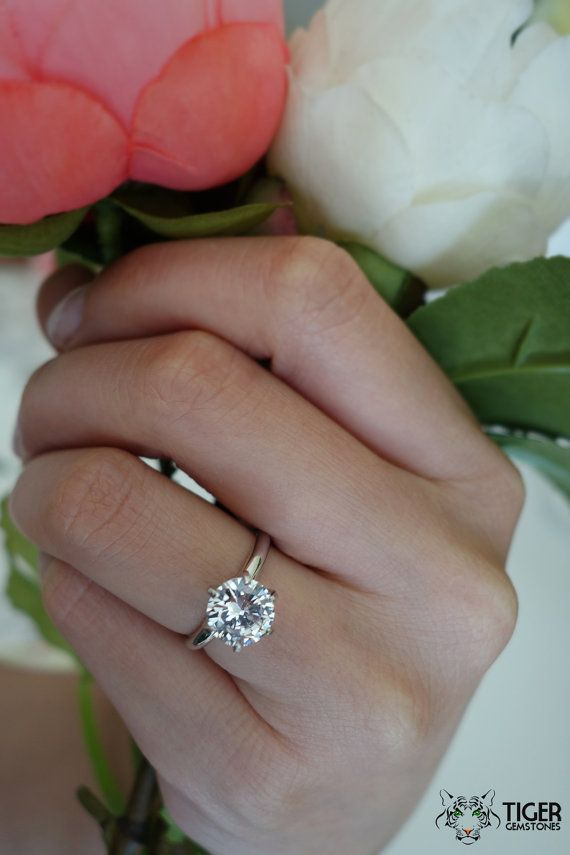 2 carat 14k White Gold Ring, 6 Prong Solitaire Ring, Engagement Ring, Man Made Diamond Simulant, Wedding Ring, Bridal Ring, Promise Ring on Etsy