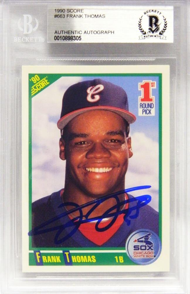 Frank Thomas Signed White Sox 1990 Score Rookie Card 663 Beckett Encapsulated In 2021 Frank Thomas Chicago White Sox Baseball Scores