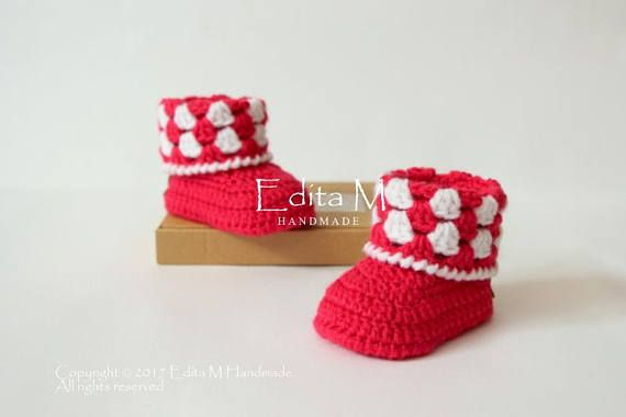 0174887ce13e5 Crochet baby booties, baby girl booties, baby shoes, baby boots ...