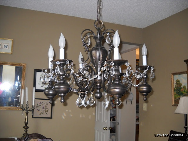 Let's Add Sprinkles: Spray Painted Chandelier Makeover