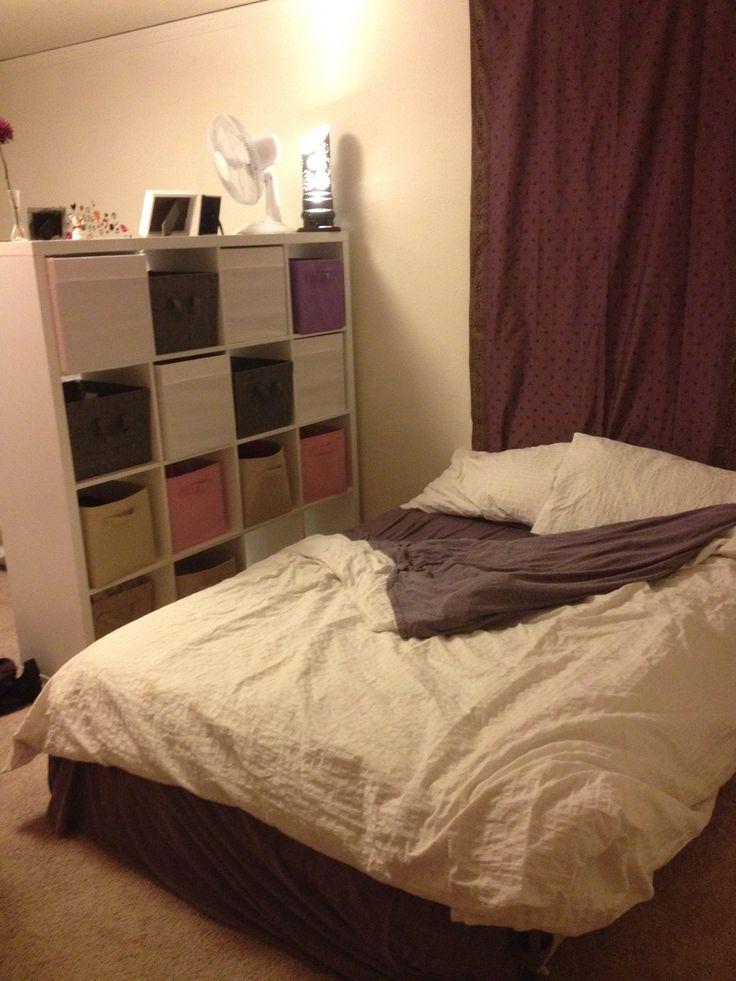 "My ""bedroom"" in the studio. Kallax from IKEA is a great"
