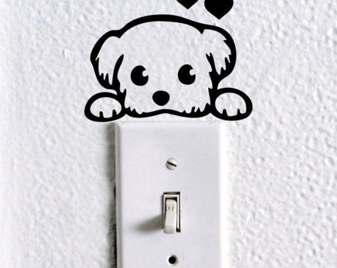 interruptor de luz de perro etiqueta, etiquetas de perro, etiqueta del animal doméstico arte, niños guardería etiqueta, etiqueta de la pared del dormitorio de bebé perro, lindo etiqueta, etiqueta del coche elefante