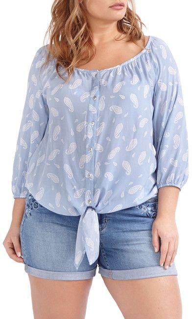 Addition Elle Love & Legend Paisley Tie Front Shirt (Plus Size)