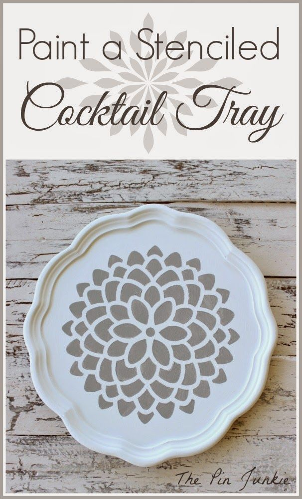 Paint A Stenciled Cocktail Tray #plaidcrafts