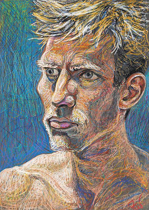 Fred Hatt - Andrew-- aquarelle watercolor crayon