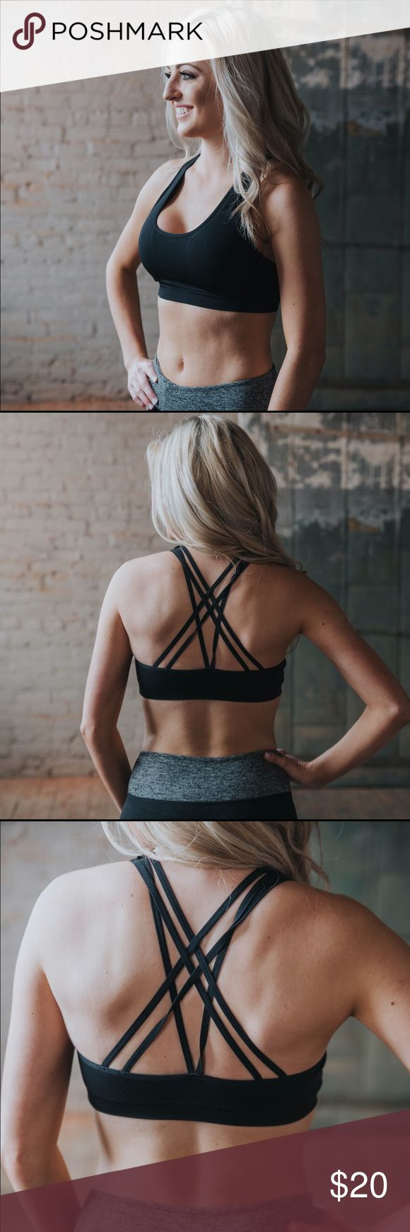 "Meet Me At The Gym- Criss Cross Black Sports Bra Lightly lined black sports bra. Model is a size 0/1, height 5'1"", bust 32D, and is wearing a XS/S. XS/S fits sizes 0-2. M/L fits sizes 4-6. Intimates & Sleepwear Bras"