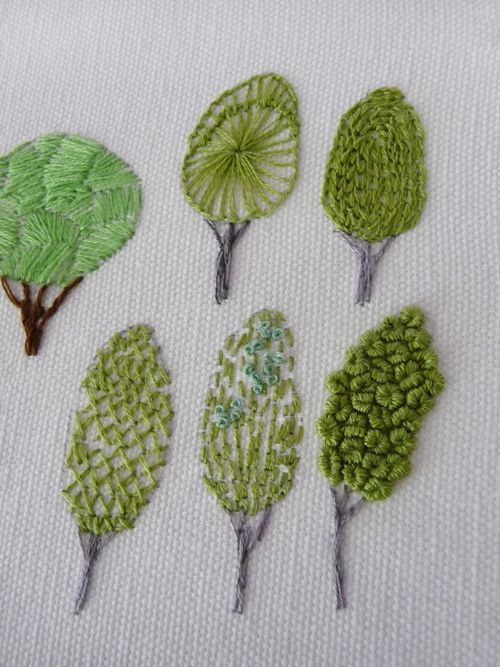Along Stitch Lines - embroidered trees using different stitches for each example. Cool idea for a sampler.: