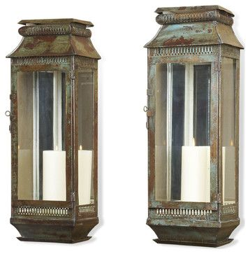 Modena Tall Moroccan Rustic Pair Wall Sconce Lanterns transitional-candles-and-candle-holders