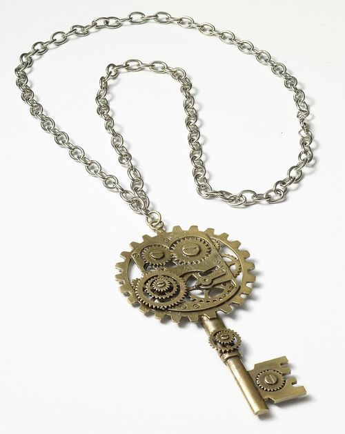 Steampunk Key Gear Necklace - This Victorian inspired key gear necklace is perfect to finish off any Steampunk outfit. This antique brass finished piece is attached to a silver link chain. This necklace is sure to be a conversation piece.Perfect for Halloween and your Steampunk party. #yyc #costume #steampunk #jewelry