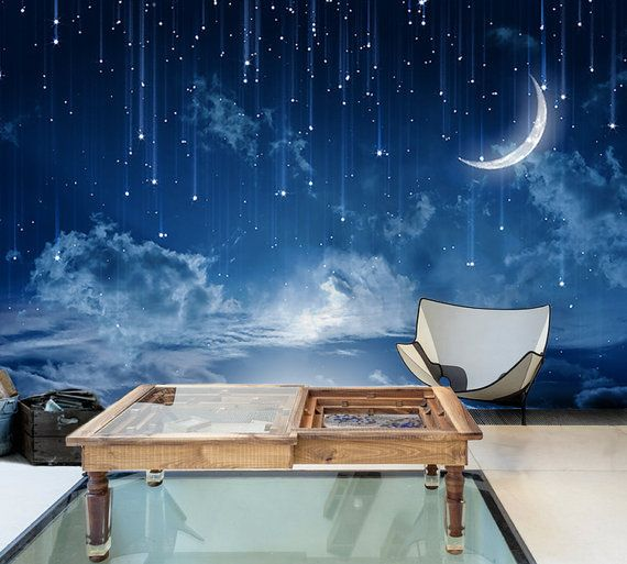 Moon Sky Wallpaper Mysterious Moonlit Wall Mural Starry Night Wall Art Dark  Blue Sky Painting Effect Part 37