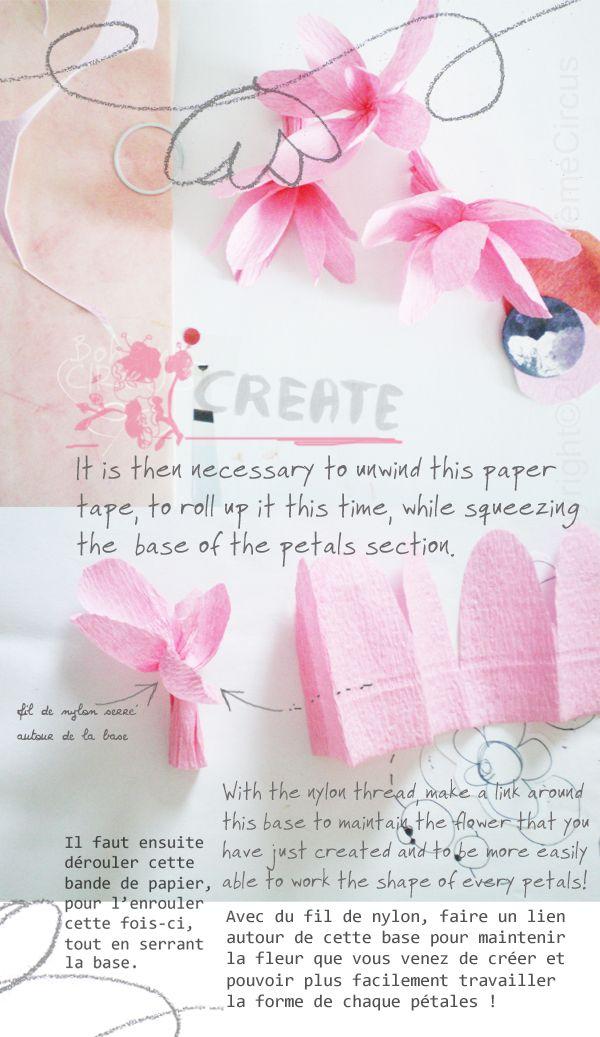 with paper tape: Crepes Paper, Paper Magnolias, Flower Crafts, Paper Flower, Flower Garlands, Kids Crafts, Crafts Flower, Bohèm Circus, Paper Crafts