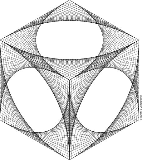 Curve-stitch isometric cube. I want to do a string art piece for my classroom!