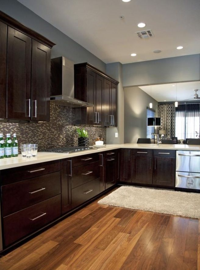Espresso Cabinets Blue Gray Walls Love Everything About This Kitchen