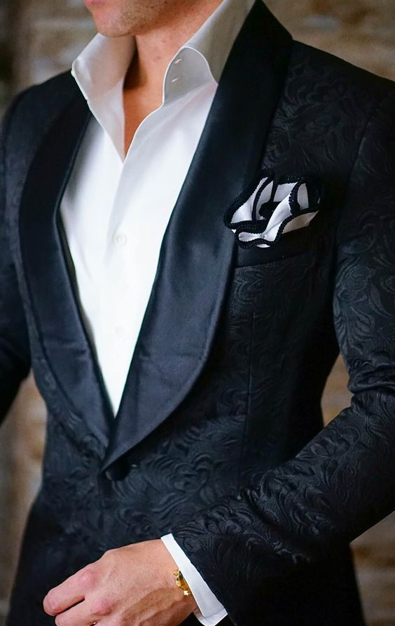 16743ad4 S by Sebastian Black Paisley Dinner Jacket | Evening outfits | Mens ...