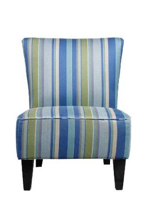 Update Your Home Decor With This Armless Chair In A Sassy Multi Blue  Stripe. This