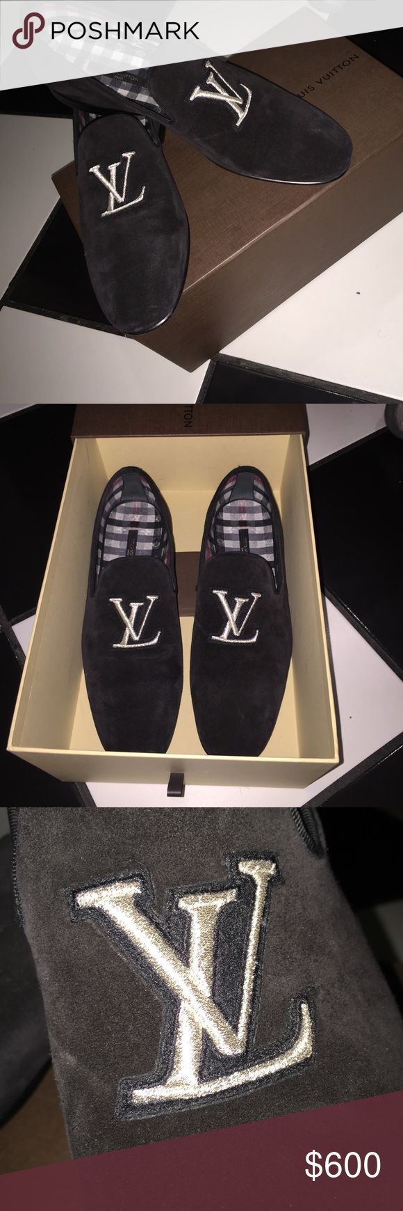 Louis Vuitton Loafers Louis Vuitton men's loafers. Calf suede with embroidered LV logo.... leather sole.100% authentic. Worn around the house to try on. My boyfriend is just getting some goodies out of his closet. Soft and comfortable. Brand new Louis Vuitton Shoes Loafers & Slip-Ons