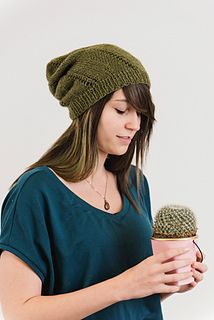 Inspired by nature, this top-down slouchy hat uses decreases and eyelets to mimic a spiral-shaped cactus. In one skein of Blacker Yarns Tamar Lustre Blend DK, it's much easier to make than it looks!