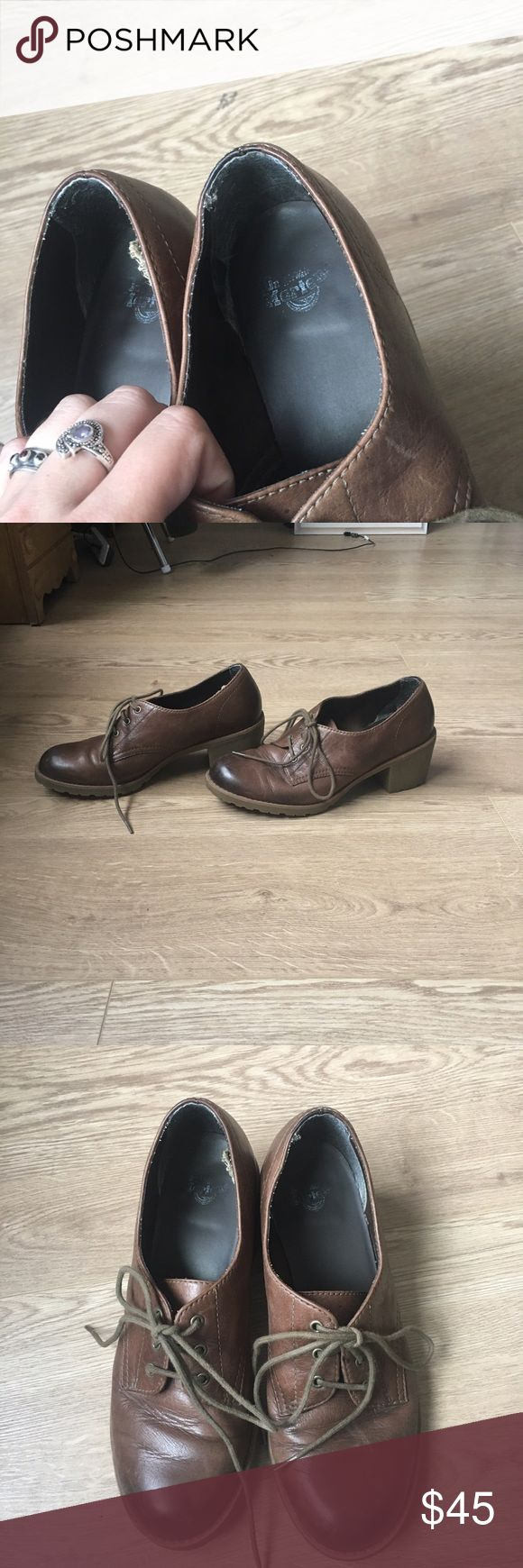Brown Doc Marten Posy boots Never seen the style doc Martens before, can't find any for sale online so rare? Brown boots with a chunky heel. Has natural color distressing. Size 7 US. Minimal wear on soles. Dr. Martens Shoes Ankle Boots & Booties