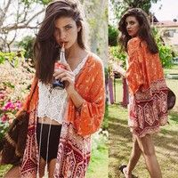 Wish | Fashion Trend Women Girl Boho National Print Chiffon Shawl Kimono Cardigan Tops Cover Up Casual Blouse Hot Sale(XS,S,M,L,XL)