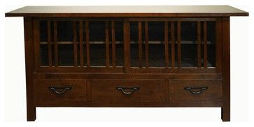 Oak Park TV Cabinet, Dark Walnut - craftsman - Entertainment Centers And Tv Stands - Gingko Home Furnishings