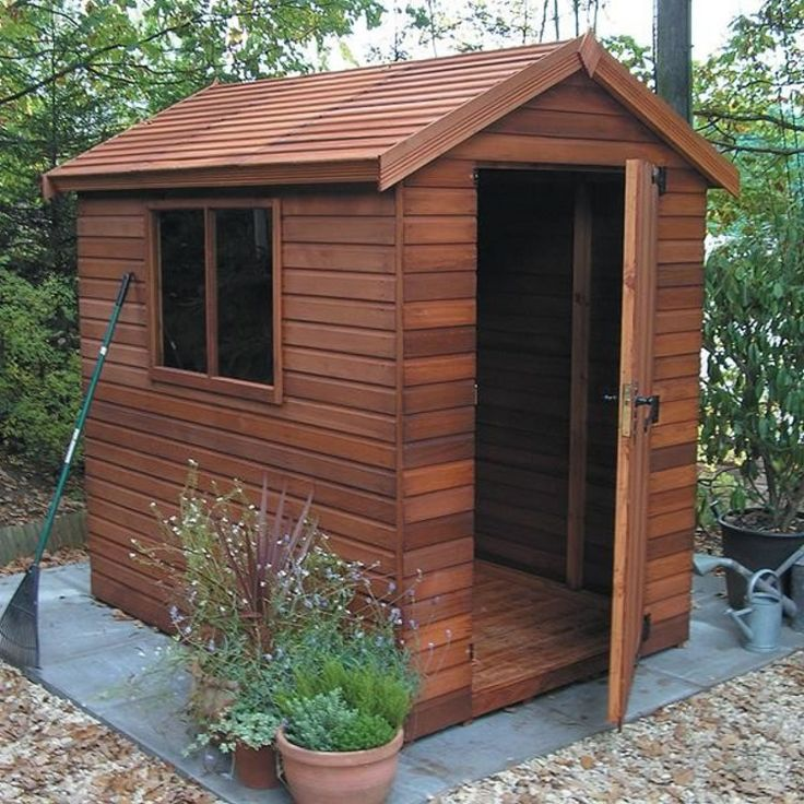 6u0027x4u0027 Cedar Clad Shed With A Cedar Slatted Roof · Garden ShedsCottageGardens CabinBackyard