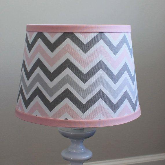 Small Pink Gray Chevron lamp shade. by babymilanbedding on Etsy, $38.00