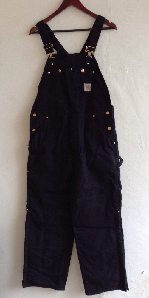 Carhartt Black Insulated Quilt-Lined Overalls Bibs Excellent 36x30 R02 Black #Carhartt