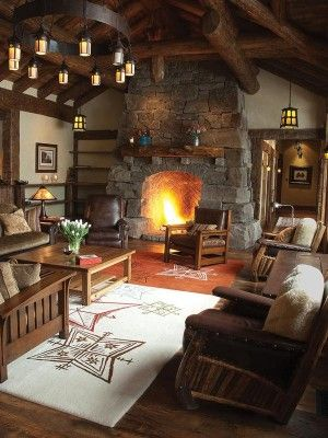 Cabin Style Living Rooms-17-1 Kindesign