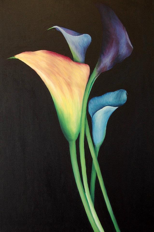 Coloured Lillies  Paintings - Angela Lane ~ Artist