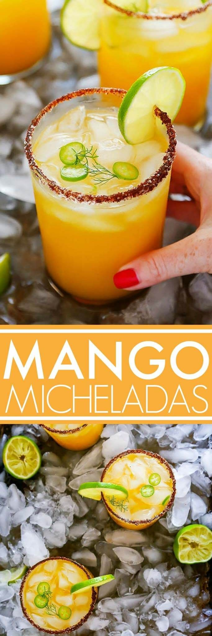 This Mango Michelada is a Mexican beer cocktail that's sweet and spicy and perfect for summer sipping!   platingsandpairings.com