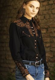 "Scully ""Lady Gunfighter"" Mint pipe western shirt, butterfly shirt, butterfly western shirt, womens western shirt, western shirt for women, womens western wear, womens scully shirt, scully womens shirt, matching western shirts"
