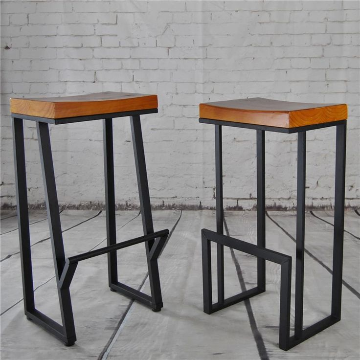 Retro Nostalgia Wrought Iron Barstool American Wood Bar Stool Chair Chairs Cafe Tea
