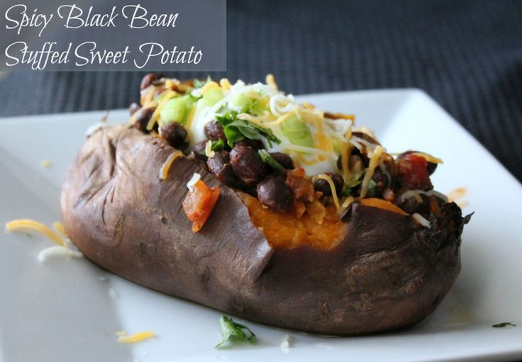 Spicy Stuffed Black Bean Sweet Potato. 334 calories and 8 weight watchers points plus