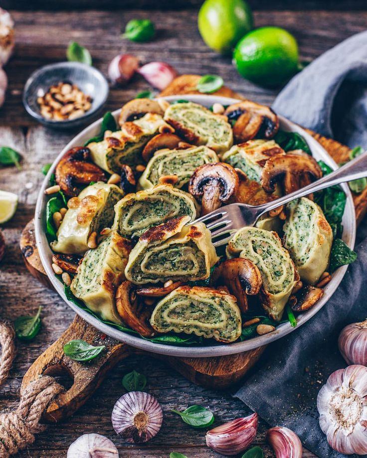 Vegan crispy roasted ravioli rolls with fried mushrooms