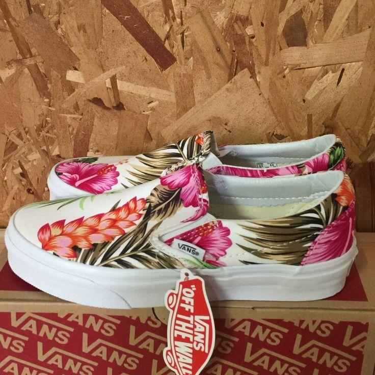 VANS CLASSIC SLIP ON HAWAIIAN FLORAL WHITE WOMENS SIZE 8 NIB #VANS #SkateShoes