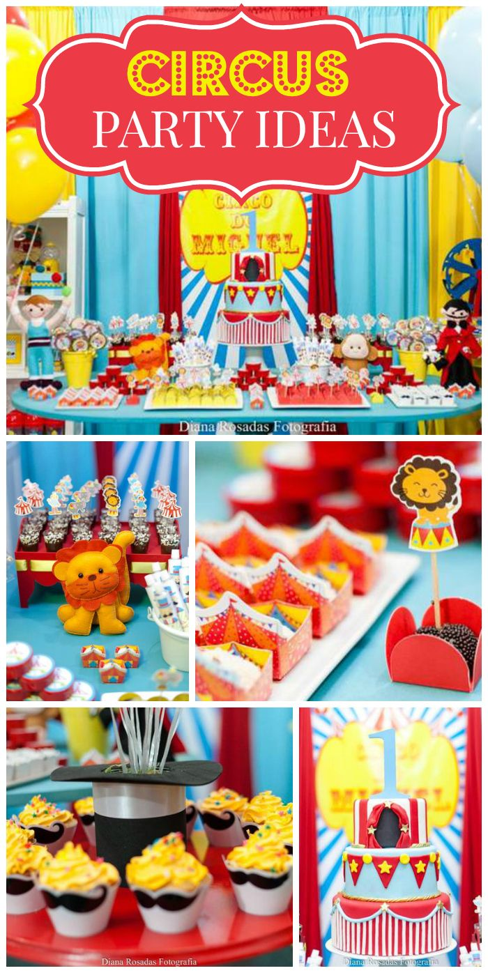 Such a fantastic circus birthday party, with so many cute treats and decorations!  See more party ideas at CatchMyParty.com!