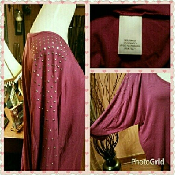 Fuchsia batwing top. New with tag. Beautiful soft top with silver sparkley studs along the sleeves. 3/4 sleeve.  Can be worn off the shoulder. Apt. 9 Tops