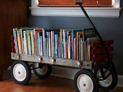 Turn just about anything into a library.   49 Clever Storage Solutions For Living With Kids