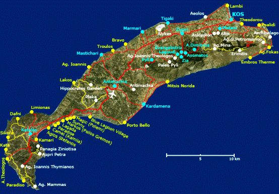 Kos Map showing its main beaches and towns