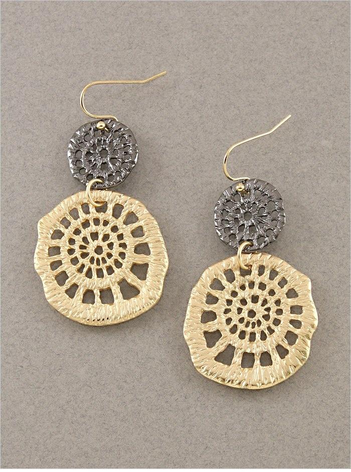"Matte Gold and Hematite Lotus Earrings  1.75"" Long  Quantity: 2  $14.00"