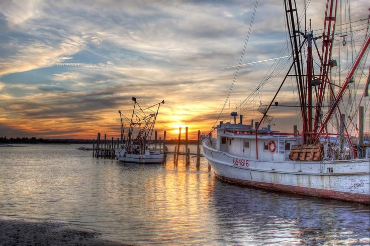 Swansboro Boats at Sunset