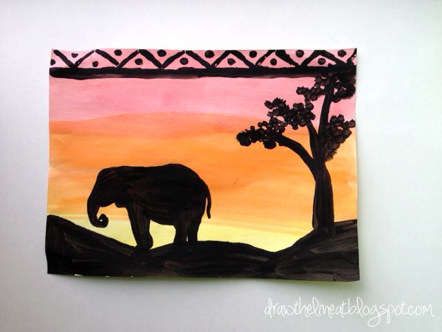 african sunset silhouette artwork by kids