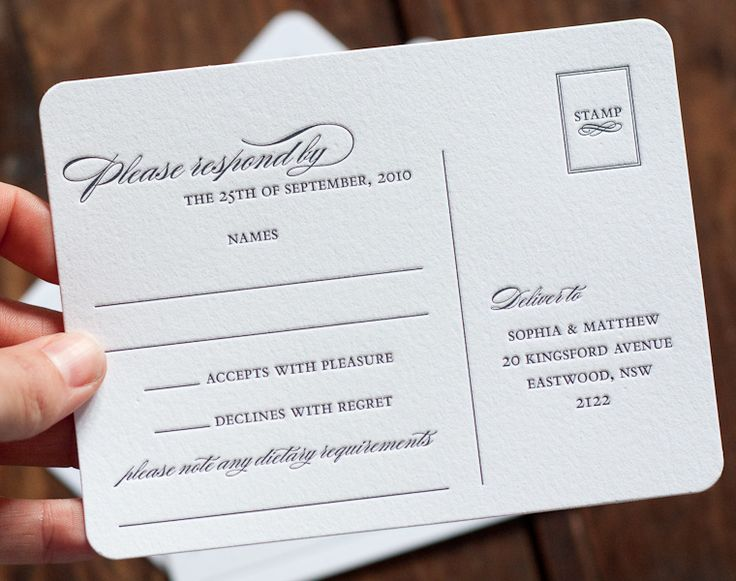 These letterpress postcard-style response cards are stunning from Deciduous press