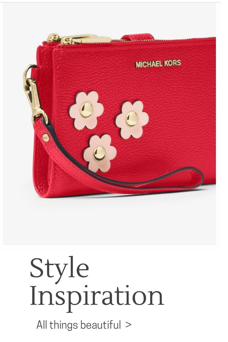 dda80af9a7e5b0 Michael Kors Adele Floral Applique Leather Smartphone Wristlet. Done In A  Rich Pebbled Leather With