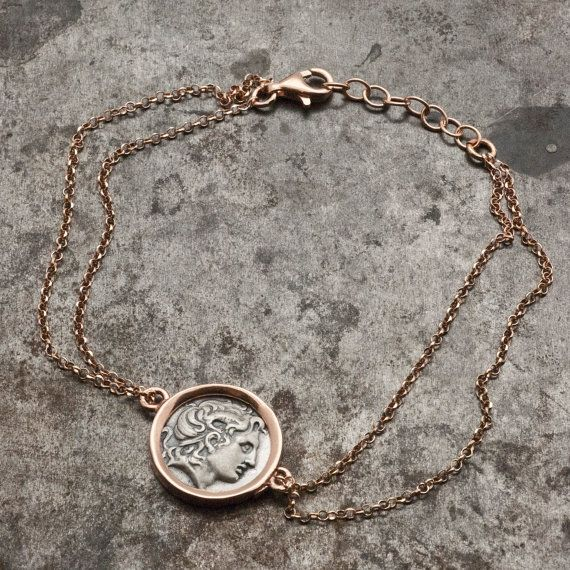 Greek Coin Rose Gold Bracelet, Alexander the Great Ancient Silver Coin, Delicate…