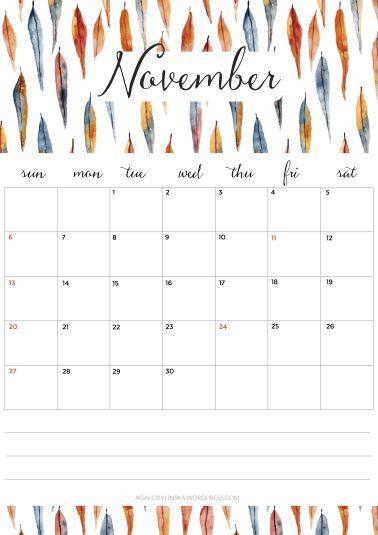free printable calendar November 2016