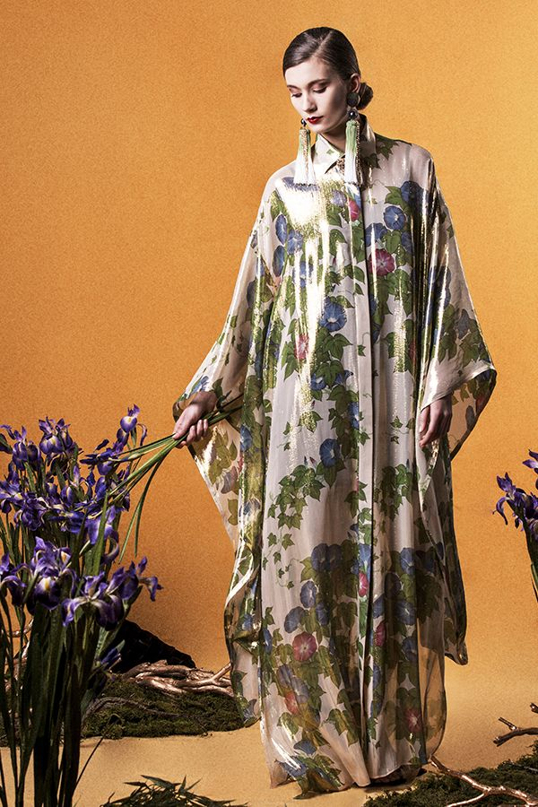 "Yumi Katsura/ ""GLORIOUS RIMPA"" SS2015 LONG ASAGAO SHIRT  DRESS"